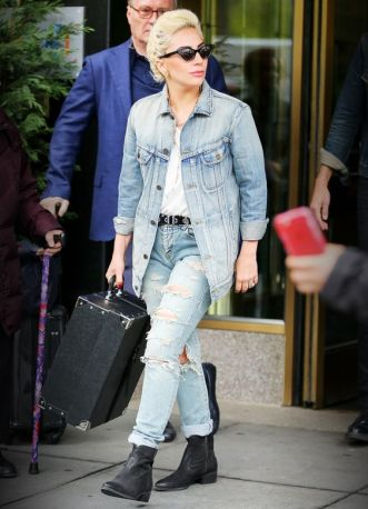 EXCLUSIVE: Lady Gaga and Mark Ronson seen carrying a suitcase while leaving Gaga's apartment building in New York City, the singer-actress was wearing a ripped jeans and denim jacket Pictured: Lady Gaga Ref: SPL1275119 030516 EXCLUSIVE Picture by: Felipe Ramales / Splash News Splash News and Pictures Los Angeles: 310-821-2666 New York: 212-619-2666 London: 870-934-2666 photodesk@splashnews.com