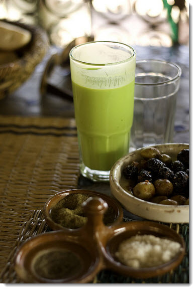 pistachio yoghurt-drink-with-side-olives-morocco-jamieanderson-flickr